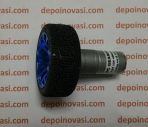 motor dc geared 12V 400 rpm komplit roda anti selip